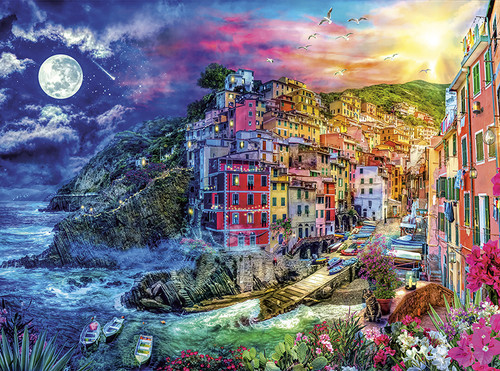 Day to Night: Cinque Terre Splendor - 1000pc Jigsaw Puzzle by Buffalo Games