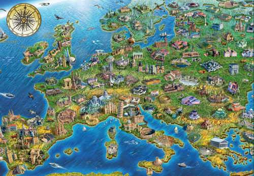 Crazy European Map - 500pc Jigsaw Puzzle by Educa