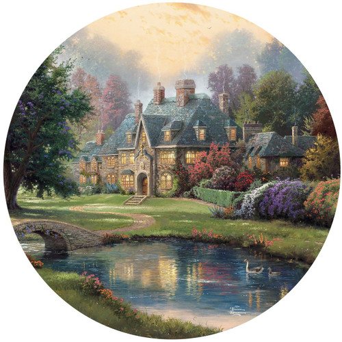 Thomas Kinkade: Lakeside Manor - 500pc Round Jigsaw Puzzle by Ceaco