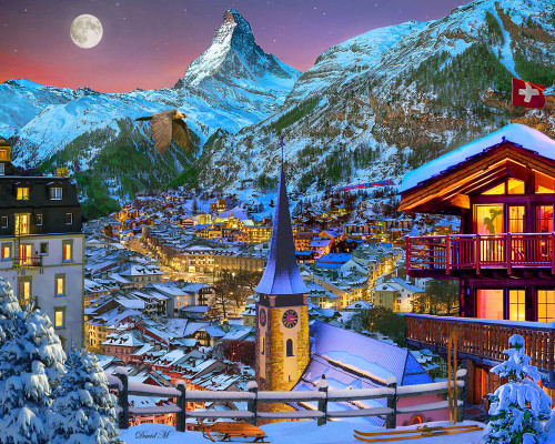 The Majestic Matterhorn - 1000pc Jigsaw Puzzle by Vermont Christmas Company