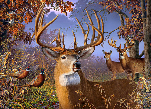 Deer and Pheasant - 1000pc Jigsaw Puzzle by Jack Pine
