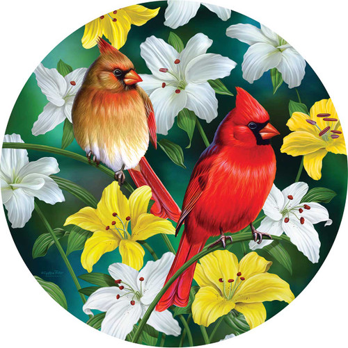 Cardinals in the Round - 500pc Shaped Jigsaw Puzzle By Sunsout