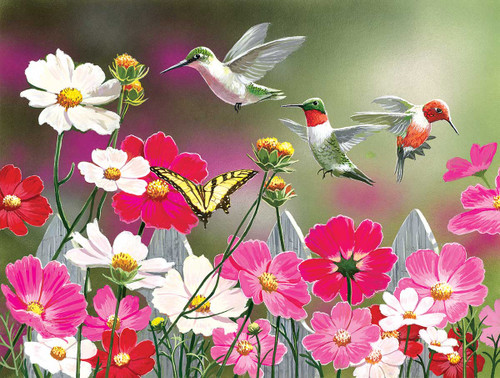 Cosmos and Hummingbirds - 500pc Jigsaw Puzzle By Sunsout