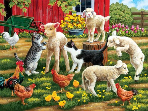 Lambs on the Loose - 300pc Large Format Jigsaw Puzzle by SunsOut