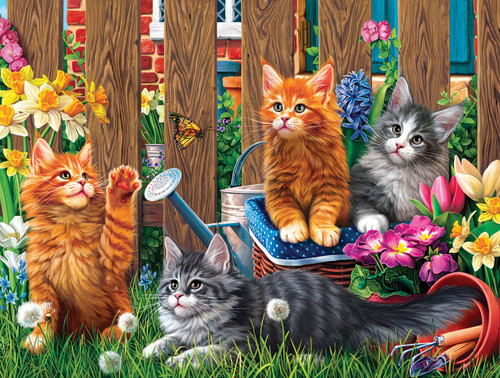 Kittens in the Garden - 300pc Large Format Jigsaw Puzzle by SunsOut