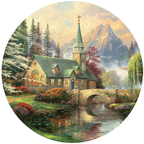 Thomas Kinkade: Dogwood Chapel - 500pc Round Jigsaw Puzzle by Ceaco
