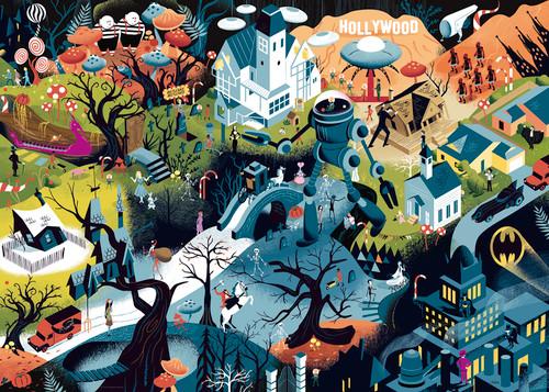 Tim Burton Films - 1000pc Seek and Find Jigsaw Puzzle By Heye