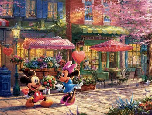 Thomas Kinkade Disney Dreams: Mickey & Minnie Sweetheart Cafe - 750pc Jigsaw Puzzle by Ceaco
