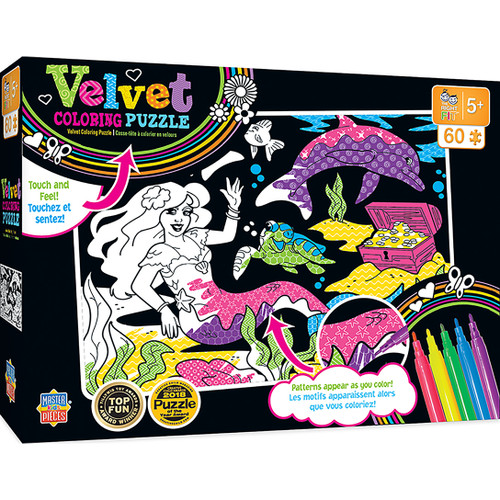 Velvet Coloring: Mermaid - 60pc Jigsaw Puzzle By Masterpieces