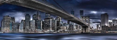 New York, Dark Night - 1000pc Panoramic Jigsaw Puzzle by Schmidt