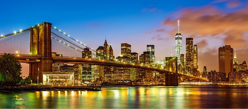 Brooklyn Bridge, New York - 600pc Panoramic Jigsaw Puzzle By Castorland