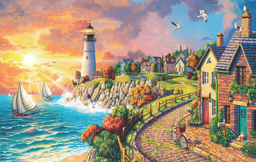 Lighthouse by the Sea - 550pc Jigsaw Puzzle By Sunsout