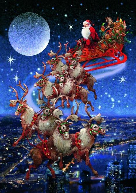 Santa's Flying Sleigh - 1000pc Jigsaw Puzzle by Piatnik