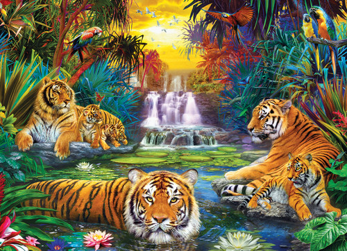 Tiger's Eden - 500pc Large Piece Jigsaw Puzzle by Eurographics