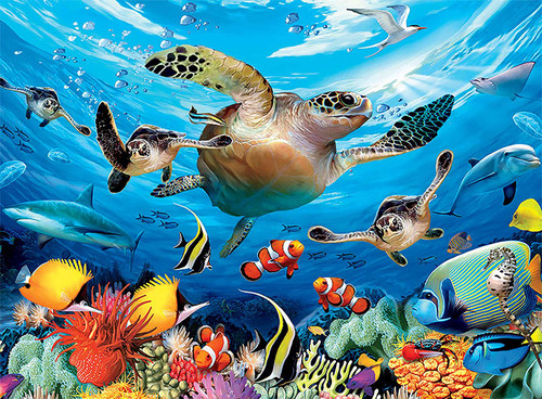 Journey of the Sea Turtles - 100pc Glow-in-the-Dark Jigsaw Puzzle by Ceaco
