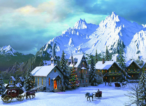 Rocky Mountain Christmas.Rocky Mountain Christmas 1000pc Jigsaw Puzzle By Eurographics