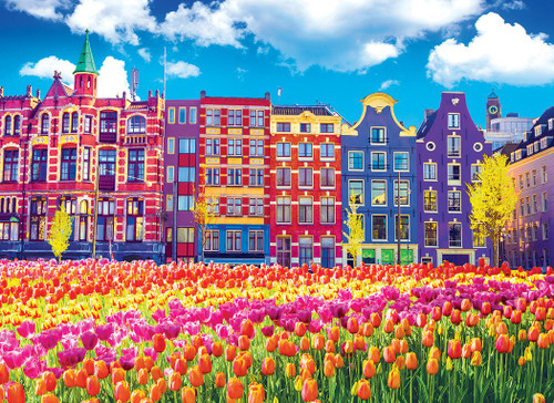 Kodak: Traditional Old Buildings and Tulips in Amsterdam, Netherlands - 1000pc Jigsaw Puzzle by Lafayette Puzzle Factory
