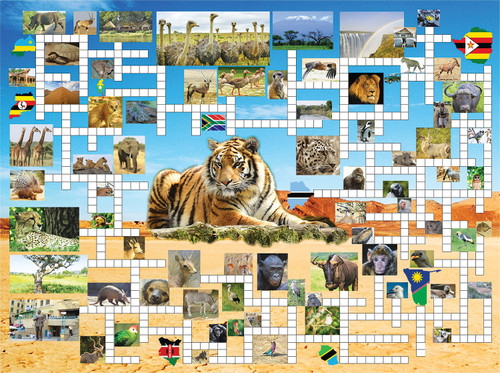 Puzzle Combos: Going on Safari - 1000pc Crossword Jigsaw Puzzle By Sunsout