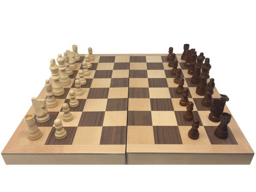 "16"" Inlaid Wood Folding Chess Set with 3"" King"