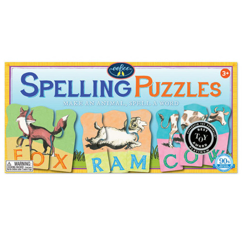Animal Spelling - 10 x 3pc Multipack Jigsaw Puzzle by eeBoo