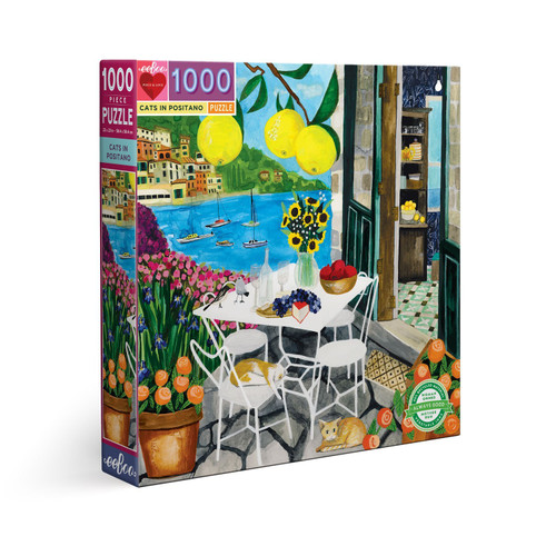 Cats in Positano - 1000pc Square Jigsaw Puzzle by eeBoo