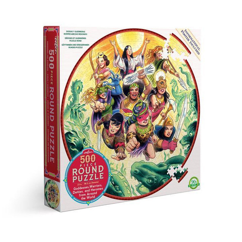 Goddessess and Warriors - 500pc Round Jigsaw Puzzle by eeBoo