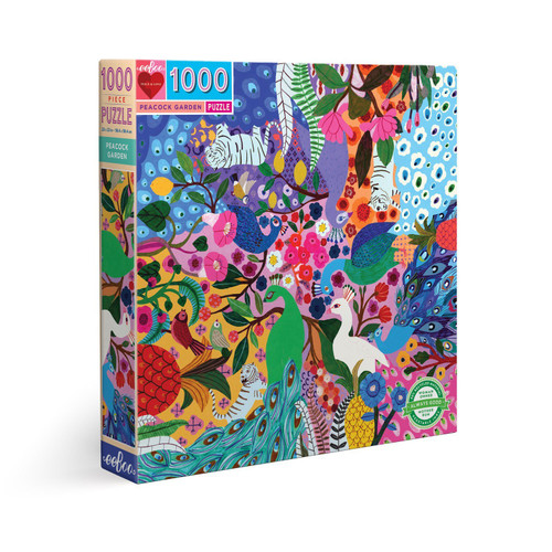 Peacock Garden - 1000pc Square Jigsaw Puzzle by eeBoo