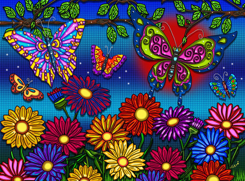 Flowers & Butterflies - 300pc Large Format Jigsaw Puzzle by JaCaRou