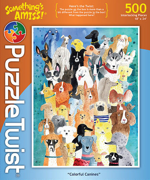 Colorful Canines - 500pc Jigsaw Puzzle by PuzzleTwist