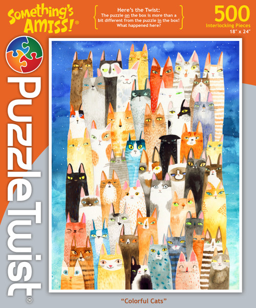 Colorful Cats - 500pc Jigsaw Puzzle by PuzzleTwist