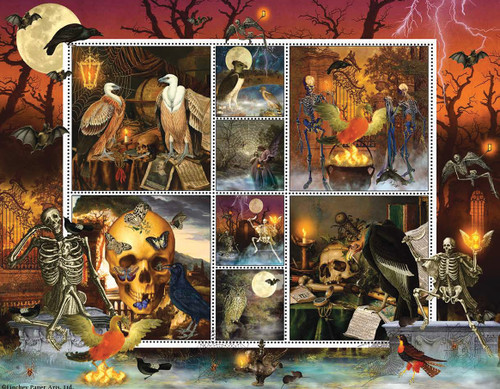 Halloween Stamps: Skeleton Dance - 1000pc Jigsaw Puzzle By Sunsout