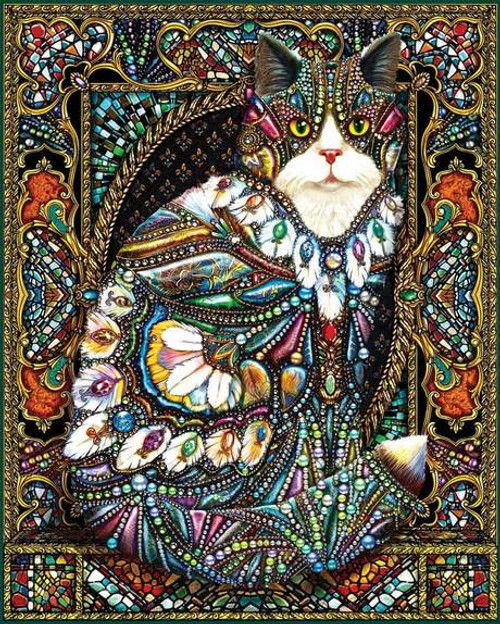 Jeweled Cat - 1000pc Jigsaw Puzzle By White Mountain