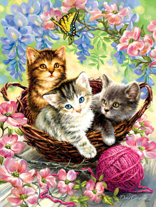 Kittens and Flowers - 500pc Jigsaw Puzzle By Sunsout