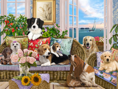 Dogs on the Sofa - 550pc Jigsaw Puzzle by Vermont Christmas Company