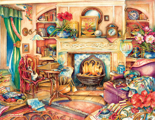 Fireside Embroidery - 1000+pc large Format Jigsaw Puzzle By Sunsout