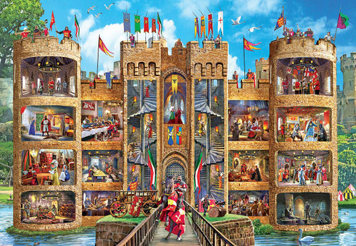 Cut-Aways: Medieval Castle - 1000pc Large Format Jigsaw Puzzle by Masterpieces