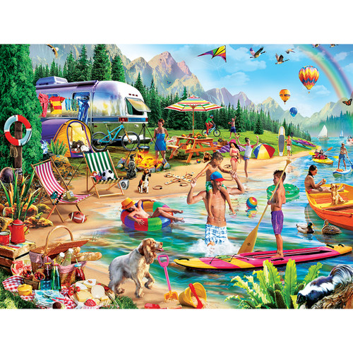 Campside: Day at the Lake - 300pc Large Format Jigsaw Puzzle by Masterpieces