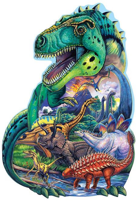 Dinosaur Days - 100pc Shaped Jigsaw Puzzle by Masterpieces