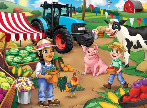 Tractor Town: Market Day - 60pc Jigsaw Puzzle by Masterpieces
