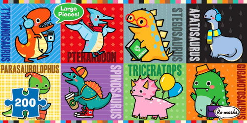 Dinosaurs - 200pc Panoramic Jigsaw Puzzle By Re-marks