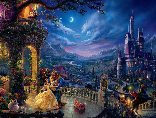 Thomas Kinkade: Beauty and the Beast Dancing in the Moonlight - 1500pc Jigsaw Puzzle by Ceaco