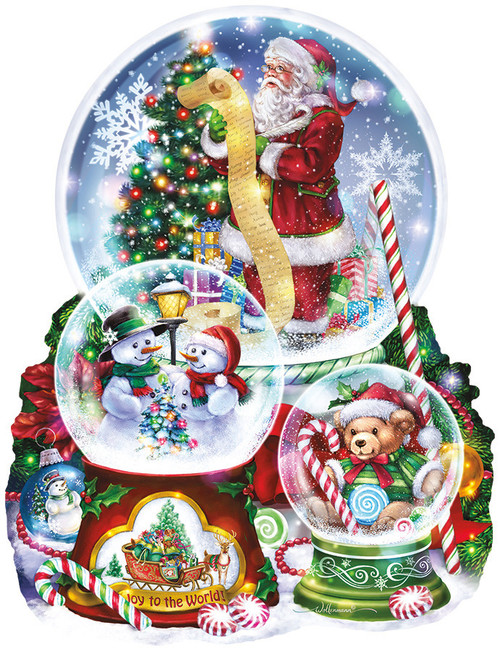 3 Snow Globes - 1000pc Shaped Jigsaw Puzzle By Sunsout