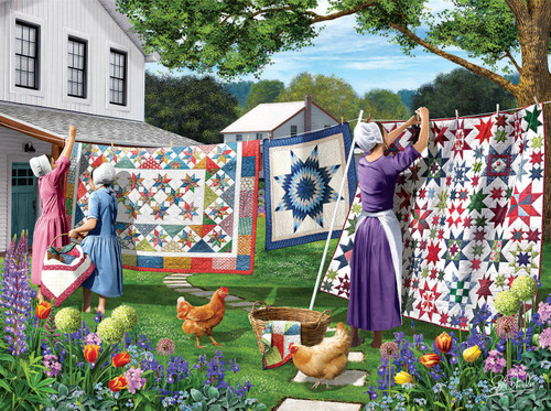 Quilts in the Backyard - 500pc Jigsaw Puzzle By Sunsout