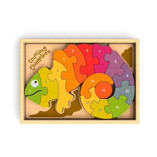 Counting Chameleon Bilingual - EcoFriendly Wooden Puzzle by BeginAgain