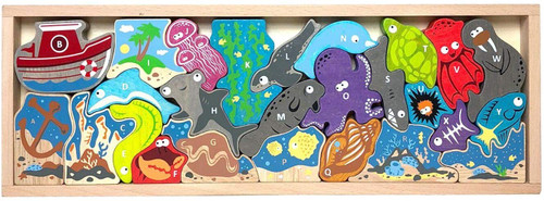 Ocean A to Z Puzzle - EcoFriendly Wooden Puzzle by BeginAgain