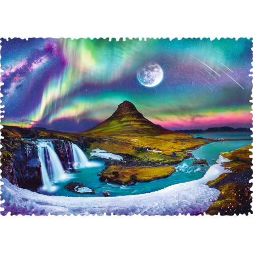Crazy Shapes: Aurora over Iceland - 600pc Edgeless Jigsaw Puzzle By Trefl
