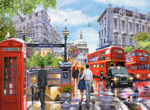 Spring in London - 2000pc Jigsaw Puzzle By Castorland
