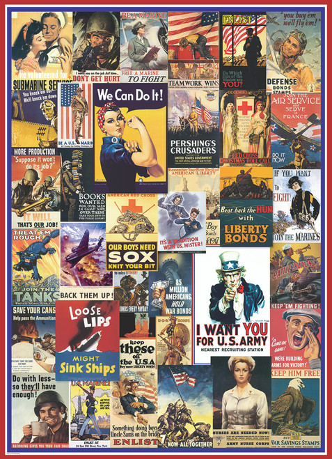 World War I & II Vintage Posters - 1000pc Jigsaw Puzzle by Eurographics