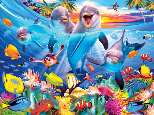 Playful Dolphins by Howard Robinson - 350pc Jigsaw Puzzle by Kodak Premium Puzzles