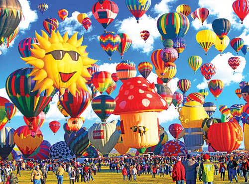 Happy Hot Air Balloons, Albuquerque, New Mexico - 1000pc Jigsaw Puzzle by Cra-Z-Art